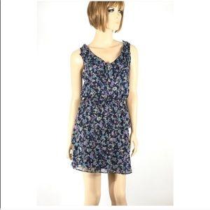Xhilaration Dresses - Xhilaration Blue Floral Ruffle Sleeveless Dress